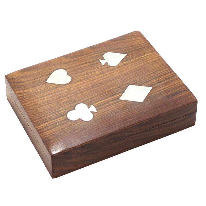 Royaltyroute Indian Wooden Double Playing Card Storage Box With 2 Standard Decks