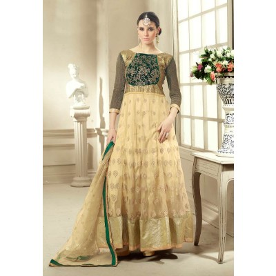 Sundram Fab Pesents Beautiful Cream Anarakali Suit
