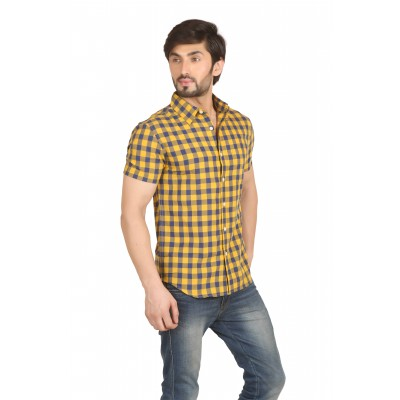 Starsy Yellow Color Checkered Cotton Shirt for Men