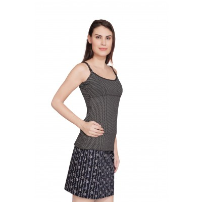 Starsy Casual Sleeveless Polka Print Women's Black Top