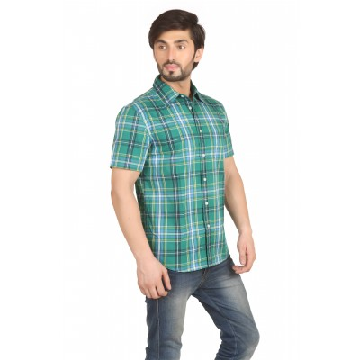 Starsy Green Color Checkered Cotton Shirt for Men