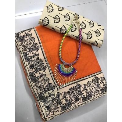 Kalamkari cotton saree by Vins4u.com