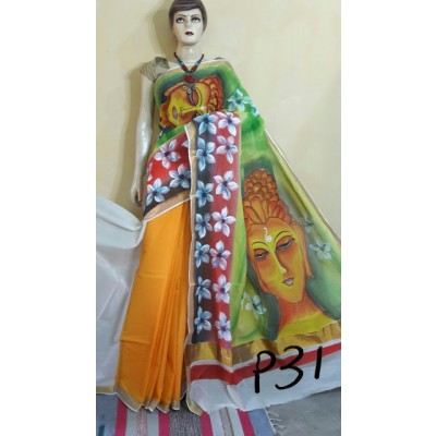 Kerala Saree Hand Painted