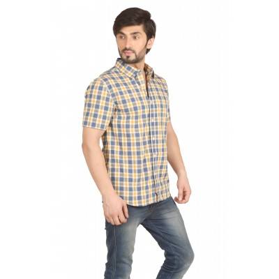 Starsy Grey Color Checkered Cotton Shirt for Men