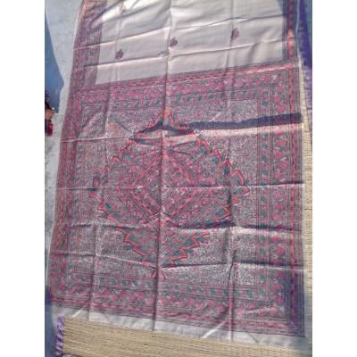 Madhubani Ghicha silk saree