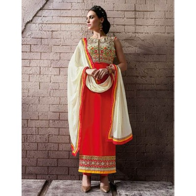 Sundram Fab Red Color Designer Embroidery Collection Suit