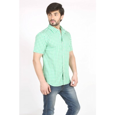 Starsy Light Green Color Checkered Cotton Shirt for Men