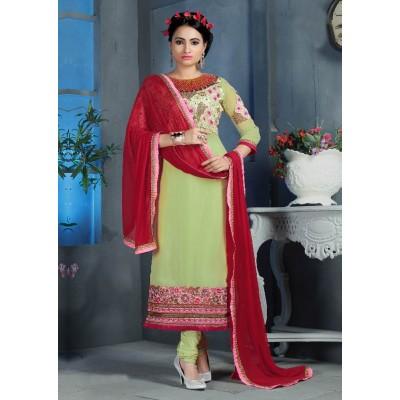 Sundram Fab Pista Color Designer Embroidery Collection Suit