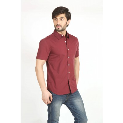 Starsy Brown Color Solid Cotton Shirt for Men