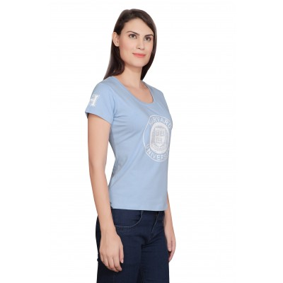 Starsy Printed Women's Round Neck Blue T-Shirt