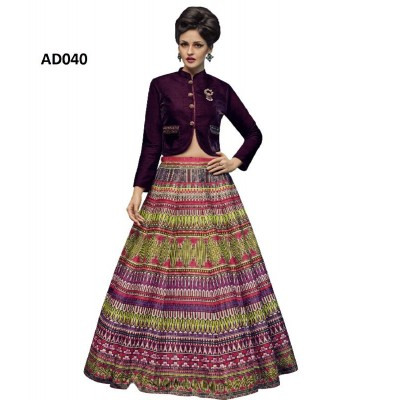 Multicolour and Blue Designer Fabric tapeta silk Partywear Lehenga Choli.