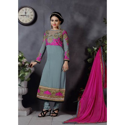 Sundram Fab Gray Color Designer Embroidery Collection Suit