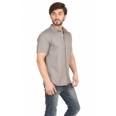 Starsy Grey Color Solid Cotton Shirt for Men