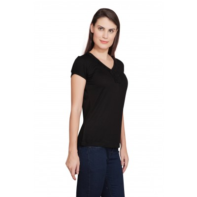 Starsy Solid Women's V-neck Black T-Shirt