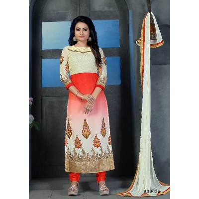 Sundram Fab Cream and Cream Color Designer Embroidery Collection Suit