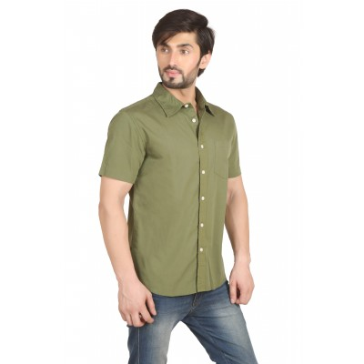 Starsy Green Color Solid Cotton Shirt for Men