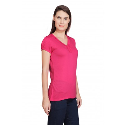Starsy Solid Women's V-neck Pink T-Shirt