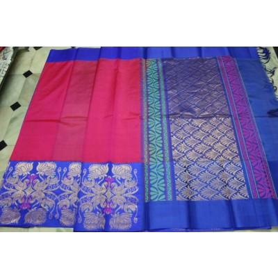 Kuppadam Pure Silk Handloom  Sarees with contrast pallu and blouse