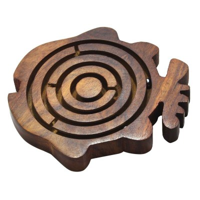 RoyaltyRoute Brain Puzzles Game Labyrinth Maze Fish Shape Wooden Game