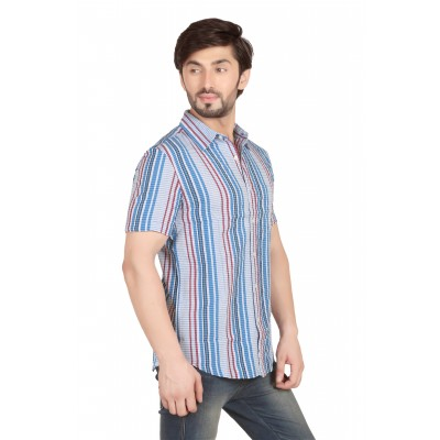 Starsy Light Blue Color Striped Cotton Shirt for Men
