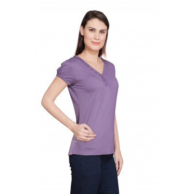Starsy Solid Women's V-neck Purple T-Shirt