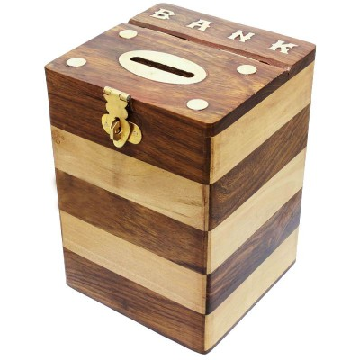 RoyaltyRoute Wooden Money Bank Coin Box Treasure Chest Piggy Bank Height 5.5 inches