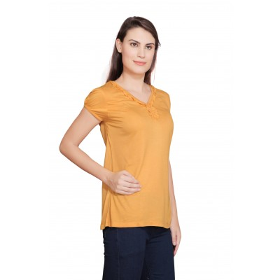 Starsy Solid Women's V-neck Yellow T-Shirt