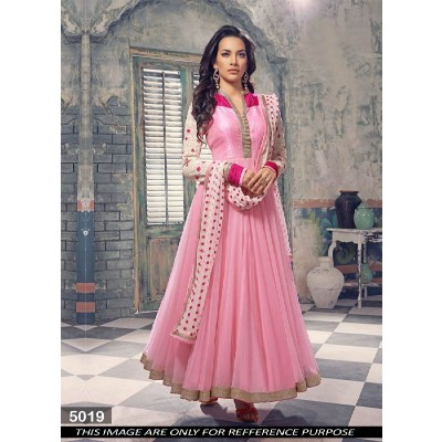 FABFIRKI Beautiful Pink Designer Anarkali Suit(TOP Stitched)