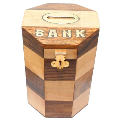 RoyaltyRoute Money Safe Coin Box Savings Banks Wooden Piggy Bank Height 6 inches