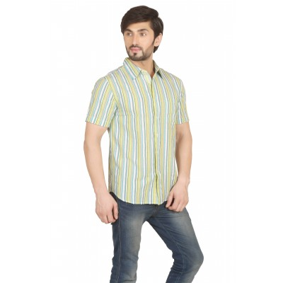 Starsy Yellow Color Striped Cotton Shirt for Men