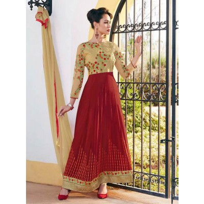 Fabfirki presents New Amazing Maroon Colour Ethnic Gown