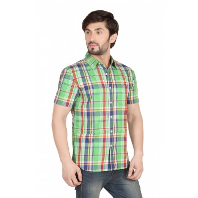 Starsy Green  Red Color Checkered Cotton Shirt for Men
