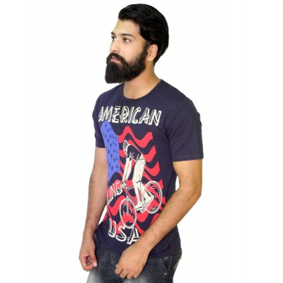 Starsy Navy Blue 100% Cotton Printed T-Shirt for Men