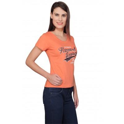 Starsy Printed Women's Round Neck Orange T-Shirt
