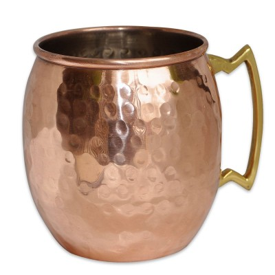 RoyaltyRoute Moscow Mule Copper Stainless Steel Drinkware Hammered Barrel Mug 550 ML