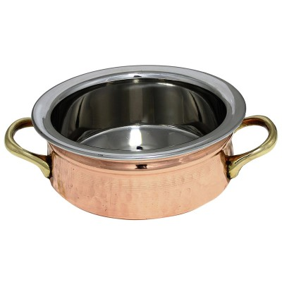 RoyaltyRoute Copper Stainless Steel Serving Bowls Tableware Curry Dishes Serving Utensils 6 inches