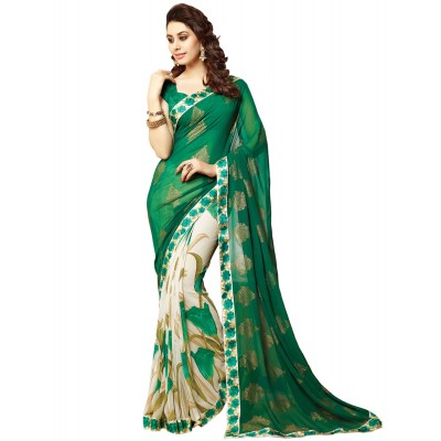 Dazzling Deals Green Printed georgette half & half saree(Unstitched)