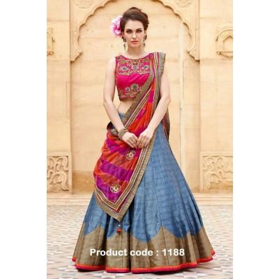 Dazzling Deals Women's Baglori Silk Lehenga Choli (Lehenga_1188_01_Free Size_Grey)