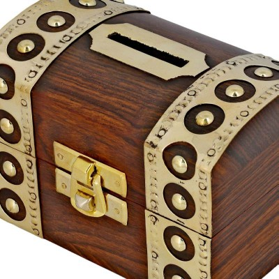 RoyaltyRoute Antique Inspired Money Safe Coin Box Wooden Piggy Bank 4 x 2.5 x 3 inches