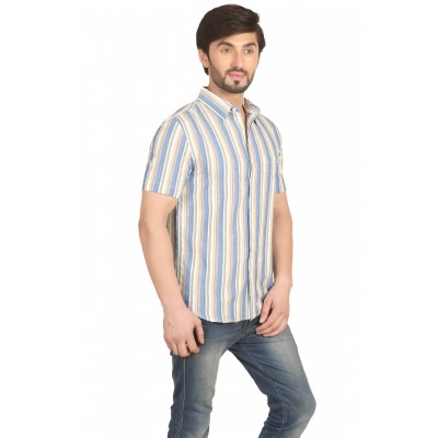 Starsy Beige Color Striped Cotton Shirt for Men