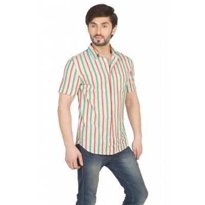 Starsy Multi Color Striped Cotton Shirt for Men