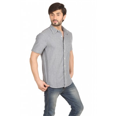 Starsy Grey Color Striped Cotton Shirt for Men