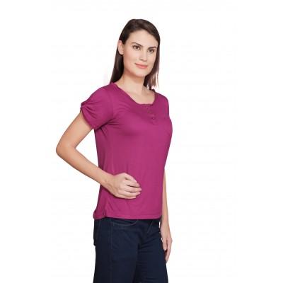 Starsy Solid Women's Round Neck Pink T-Shirt