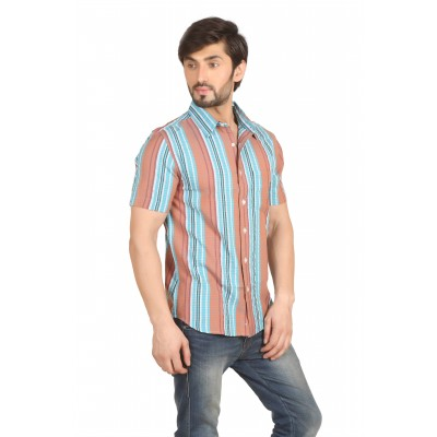 Starsy Peach Color Striped Cotton Shirt for Men