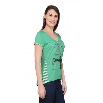 Starsy Printed Women's Round Neck Green T-Shirt