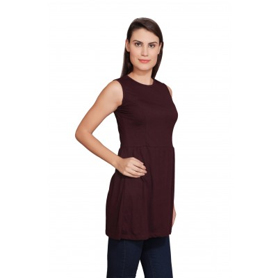 Starsy Maroon Cotton Blend Solid Tunic for Women