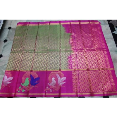 Ikkat Pure Silk Handloom light weight sarees with all over jerry work with rich pallu and contrast work.