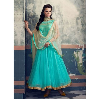 Fabulous New Sky Blue Khatli Work Fency Designer Anarkali Suit(TOP Stitched)