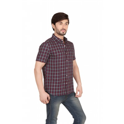 Starsy Brown Color Checkered Cotton Shirt for Men
