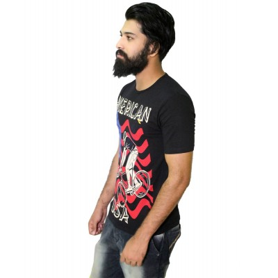 Starsy Black 100% Cotton Printed T-Shirt for Men